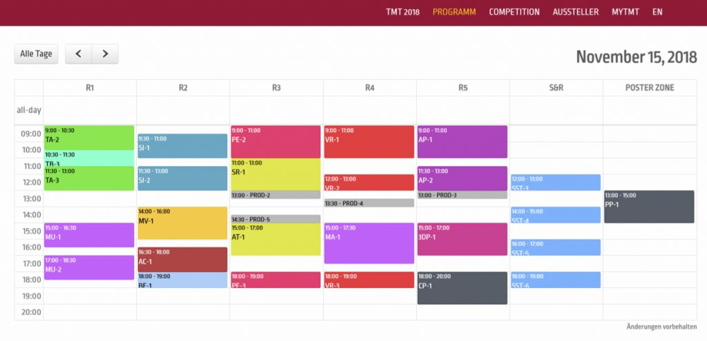 Screenshot Timetable der 30. Tonmeistertagung